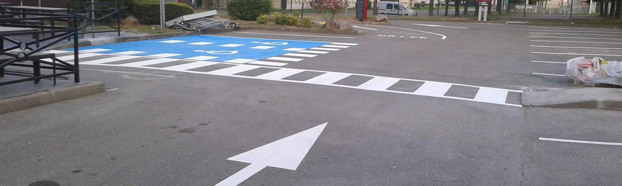 Signalisation verticale sur un parking